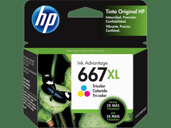 Cartucho de Tinta HP 667XL Tricolor de Alto Rendimiento Original