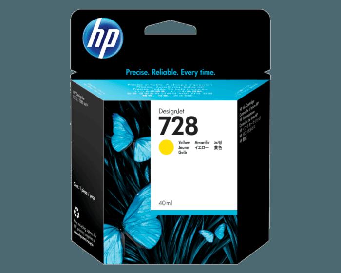 Cartucho de Tinta HP 728 Amarillo DesignJet de 40 ml