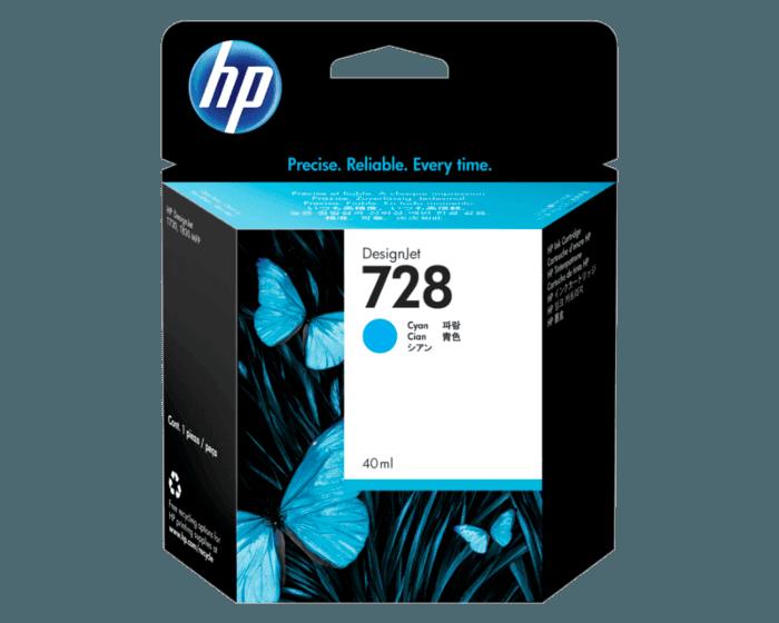 Cartucho de Tinta HP 728 Cian DesignJet de 40 ml