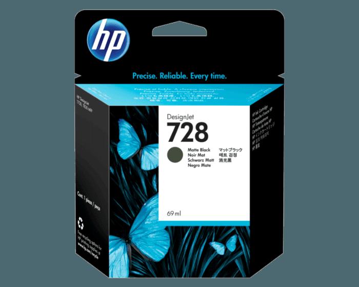 Cartucho de Tinta HP 728 Negro Mate DesignJet de 69 ml