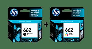 Cartucho de Tinta HP 662 Negra Original + Cartucho de Tinta HP 662 Tricolor Original